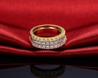 Wholesale Full Diamond Synthetic Diamond Engagement Wedding Women Sterling Silver White Gold Gold Rose God Plated Ring Brillante Good looking Gift