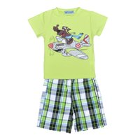 airplane clothes - Retail New Cartoon Boys Clothing Sets Dog Airplane Printed T shirt Plaid Pants Set Summer Style Short Sleeve Children Clothing