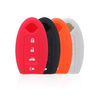 key covers - 4 Button Silicone Uncut Blade Flip Fob Remote Car Key Case for Nissan Car Key Shell Holder Interior Styling Cover Colors K1858