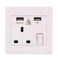 Wholesale 2 USB Charge Outlets Wall Plug Sockets White Single Electric Socket Connection BI003