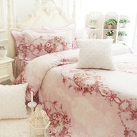 Cheap Baroque fancy ruffled cotton bedding set,girl full queen king size romantic flower bedclothes bedspreads pillow case duvet cover