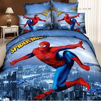 Wholesale spiderman bedding set d oil painting cotton teen boy bed set bed sheets super man kids bedding king size