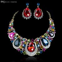 Wholesale Crystal Chokers For Brides - Wholesale-Fashion 18K GOLD plated Austria crystal Choker Necklace earrings wedding Jewelry sets for brides Christmas Presents Gifts Women
