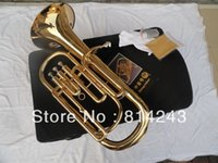 Wholesale straight key Bb bass French Horn is golden