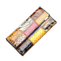 Wholesale S5Q New Brand Fashion Women Fashion Cowhide Genuine Leather Plaid Long Cards Wallet Tri fold Purse AAAFAI