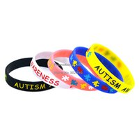autism awareness bracelets silicone - Drop Shipping New Colour Autism Awareness Wristband Silicon Bracelet Filled In Colour