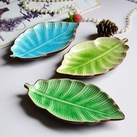 banana dishes - Banana leaf shape leaf dish ceramic dishes ice crack glaze lovely sushi dishes tableware flatware small plate