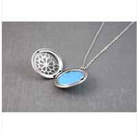 Wholesale pc Antique Silver Vintage Color Essential Oil Diffuser Filigree Locket Necklace with Colorful Diffuser pads Locket Necklace