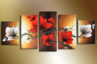 white flower oil - 5 Piece handpainted art abstract black white red flower oil painting on canvas