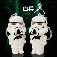 Wholesale Star wars Stormtrooper Keychains Accessories White soldier key chain ring LED Light Music sound keyring Creative flashlight Pendant hot