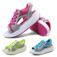 Wholesale 2015 Sandales Summer New Fish Head Sandals Women s Shoes Slope With Platform Muffi Sports leisure Shoes