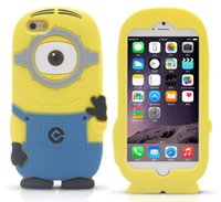 Wholesale Case Galaxy Note Minions - 3D Minions Cartoon Silicone Phone Case For Iphone 4 4S 5 5S 5C 6PLUS Samsung Galaxy S3 S4 S5 S6 mini note 3 2 ipod touch 4 5 Despicable Me 2