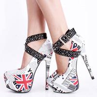 Wholesale Newspaper Women Pumps Dress Shoes High Heels With Rivet Ankle Strap Platforms Shoes Women cm High Stiletto Heel Pumps Ladies Shoes