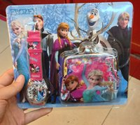 Wholesale Cartoon Anna Elsa Watch and coin bag Set Wallet Purse Kids Fashion Quartz Cartoon Boys Girls Children Watches Gift