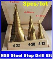 Wholesale 3Pcs mm mm mm HSS Steel Step Drill Bit Bits Tool Set For Wood Steel Triangle Handle metric measures