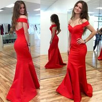beautiful celebrity dresses - Beautiful Sexy Red Celebrity Dresses New Hot Off shoulder Mermaid Backless Evening Formal Gown Trumpet Off shoulder Satin Prom Dresses