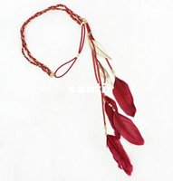 Wholesale Fashion Hot Hippie Feather Leaf Hairband Tassels Weave Headband Elastic Headdress