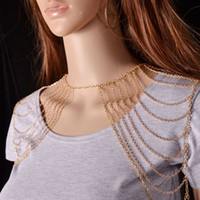 beaded epaulet - 5pcs Classical Alloy Shoulder Body Chains Multilayer Tassels Necklaces Epaulets Girls Model Show Photography Decorations jj102