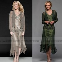 led picture light - Modest Custom made Chiffon TeaLength Lead Mother dress Sheath Evening Dress Beaded Mother of the bride Dresses With Jacket Anna25397