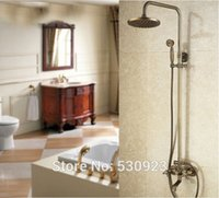 bar tap handles - Newly Vinatge Style Shower Set Faucet Bathroom Antique Brass Mixer Tap inch Shower Head Solid Brass Single Handle Wall Mounted