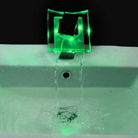 bathroom sink - 1 pc LED Glass Waterfall Basin Bathroom Sink Tap Faucet for bathroom drop shipping is available