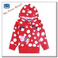 Cheap Retail Peppa Pig Girls Hoodies Kids Winter Clothes Red Polka Dot Jackets Cartoon Peppa Pig Embroidered Cartoon Coat for Baby Girl (F4490)