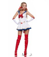 sexy cartoon girl - 2015 New Arrival Ladies Sexy White Sailor Moon Costume Cartoon Movie Cosplay Girl Mercury Moon Mars Dress for Halloween Costume