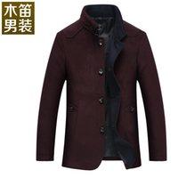Wholesale Wooden flutes new winter men s wool coat woolen coat collar men s wool coat Slim