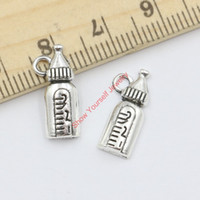 antique baby bottle - 30pcs Antique Silver Plated Baby Bottle Charms Beads Pendants for Jewelry Making DIY Handmade x8mm B323 Jewelry making DIY