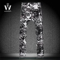 arrive pants - New Arrive Men s Skinny Jeans Coloured Drawing Pattern Printing Elastic Personalized Camouflage Men Pant Slim Fit Straight