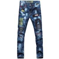 Wholesale 2015 high quality casual men s jeans men s fashion hole Slim Straight jeans vintage jeans men