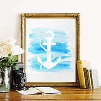 anchor wall decoration - Watercolor Anchor Art Print Poster Wall Pictures For Home Decoration Print On Canvas Wall Decor