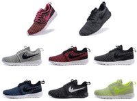 designer fabric - 2015 New Designer fashion Roshe run Flyknit Running shoes sneaker Mens Womens London Olympic Rosherun knit Running sporting walking shoes