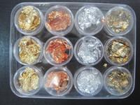 Wholesale AJ506 pots Gold Silver Copper Foil Paillette Chip Colors Nail Art Glitter Foil Decoration