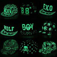 Wholesale Luminous Hats Hip Hop Fluorescent Snapback Caps Graffiti Baseball Cap Men Casquette Women Boy Hat Girl Snap Back Bone Fashionable Caps