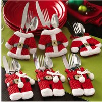 christmas decoration santa claus - Christmas Decorations Santa Claus Cutlery Suit Silverware Holder Knives and Forks Pockets Gift DH04