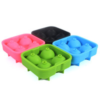 Wholesale 4 Colors For Choose Ball Tray Brick Round Mold Sphere Bar Party Mould Silicon Whiskey Ice Cube Maker