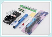 Wholesale HOT sets New in1 DIY W Electric Soldering Iron Starter Tool Kit Set With Iron Stand Solder Desoldering Pump