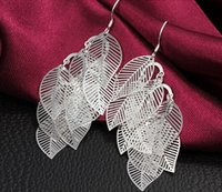 Wholesale 925 Sterling Silver leaf Earings drop Earings Beauty Earrings Dangle Earrings Mix Order