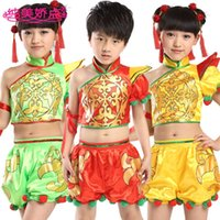 Wholesale New Unisex Costumes Performance Clothing Stage Wear Chinese Folk Dance for Boyes and Gilrs Top Pants S M L
