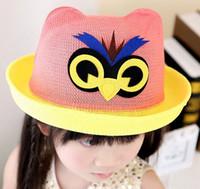 Wholesale So Cute New Baby Girl Summer Hat Cartoon Owl Design Beach Visor Girl Hat Cap For Children Girl Sun Hat