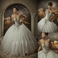 Wholesale 2015 Spring Lace Ball Gown Wedding Dresses with Rhinestones Sweetheart Corset Royal Princess Gowns Cathedral Crystals Wedding Gowns New