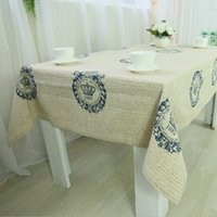 Wholesale Beige Crown Printed Linen Home Tablecloth Table Linen Durable Restaurant Coffee Shop Table Overlay Table Cover Custom made quot x70 quot x86 quot J2