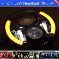 beam defender - 7 Inch Cree W Amber White Blue Headlight For Wrangler TJ CJ JK Defender G55 G500 Harley