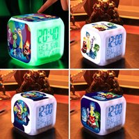 Wholesale 60pcs Inside Out LED clocks cartoon colorful glowing toys Emotions Anger Joy Fear Disgust Sadness alarm clock christmas gifts HX