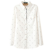 Wholesale Long Sleeve White Shirts Blouses Cotton Boat Anchor Pattern Print Shirt Women Clothing Patchowork Blusas Wear To Work Korean