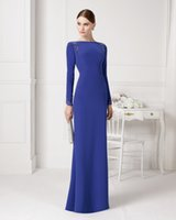 aire rectangle - Royal Blue Evening Dresses Bateau Long Sleeve Special Dress Lace Applique Sheath Formal Bridesmaid Gown Floor Length Aire U155