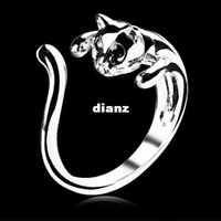 Wholesale Cool Silver Plated Kitten Cat Ring With Crystal Eyes Gift Women Jewelry