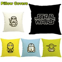 Wholesale Star Wars Pillow Covers Star War Pillow Covers Cartoon Style Cushion Cover Linen Back Pillow Case Cushion Flax Cover Throw Pillow Cases