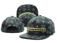 Wholesale MCM rivets Hip hop adjustable snapback hats ball caps hat visors unisex